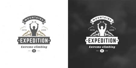 Illustration pour Climber logo emblem outdoor adventure expedition vector illustration mountaineer man silhouette - image libre de droit