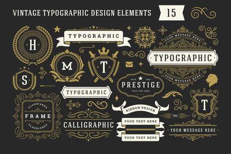 Illustration pour Vintage typographic decorative ornament design elements set vector illustration - image libre de droit