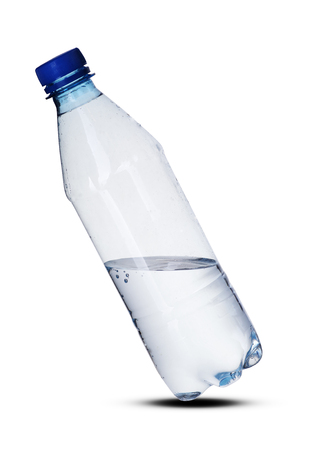 plastic bottle of water on a white background