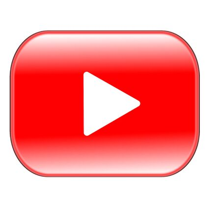 Photo for red play button isolated on white background - Royalty Free Image