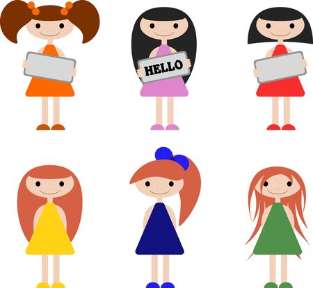 Illustration for Cute little girls with different hairstyles and clothes that are different in color. Girls holding a sign in their hands. 6 options. - Royalty Free Image