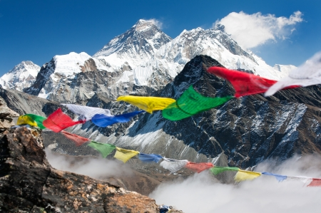 Photo for view of everest from gokyo ri with prayer flags - Nepal  - Royalty Free Image