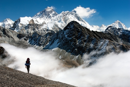 view of Everest from Gokyo with tourist on the way to Everest base camp - Nepal