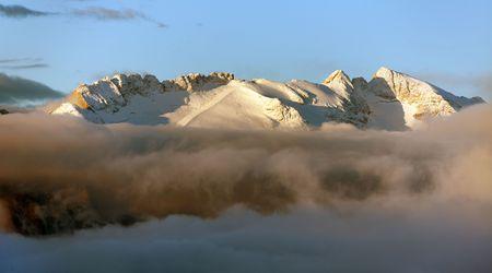 morning panoramic view of mount Marmolada, South Tirol, Alps Dolomites mountains, Italy