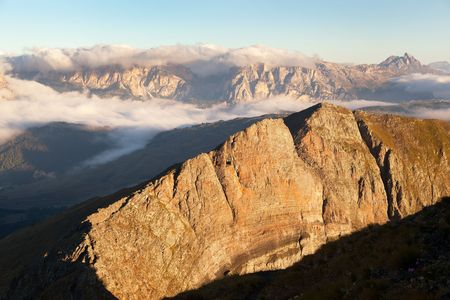 Morning view from Col di Lana to Gruppo Puez, South Tirol, dolomites mountains, Italy