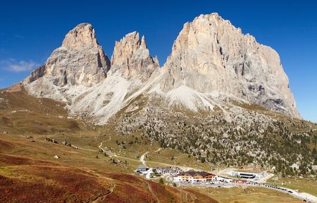 View of Sella Joch pass and mounts Langkofel, Plattkofel, Sassopiatto, Sassolungo, South Tirol, Dolomites mountains, Italy