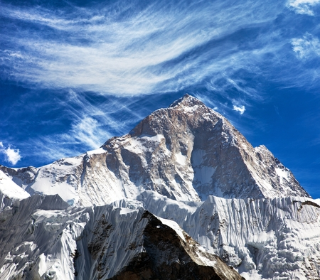 View of mount Makalu (8463 m) from Kongma La pass - Way to Everest base camp, three passes trek, Everest area, Sagarmatha national park, Khumbu valley, Nepal Himalayas mountains