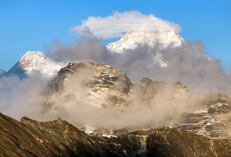 Evening view of mount Makalu (8463 m) from Kongma La pass - Way to Everest base camp, three passes trek, Everest area, Sagarmatha national park, Khumbu valley, Nepal Himalayas mountains