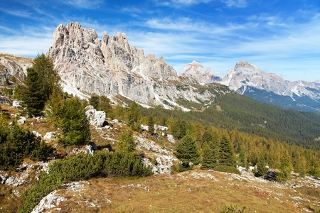 Morning panoramic view of Cima Ambrizzola, Croda da Lago and Le Tofane Gruppe, Alps Dolomites mountains, Italy