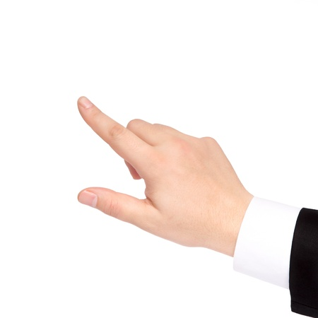 Foto de isolated hand of a businessman in a suit shows the direction - Imagen libre de derechos