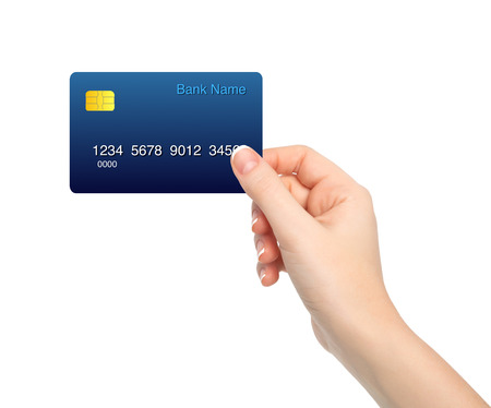 isolated female hand holding a credit card