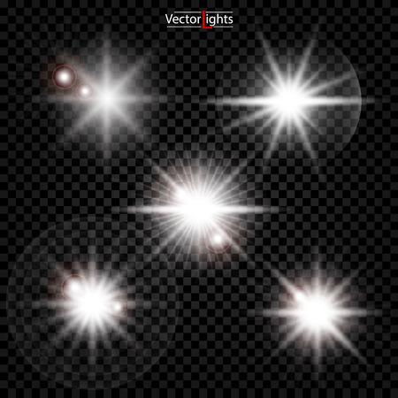 Illustration pour White glowing light explodes on a transparent background. Sparkling magical dust particles. Bright Star. Transparent shining sun, bright flash. Vector sparkles. To center a bright flash. - image libre de droit