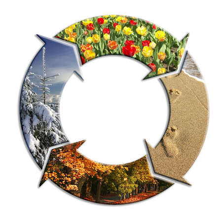 Four-arrow circle with superimposed images representing four seasons of the year