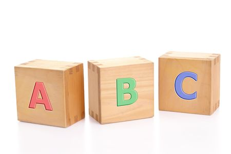 Photo pour Three wooden letter blocks with first three letters of alphabet isolated on white background - image libre de droit