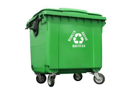 Green plastic trash container with white recycle symbol and reduce-reuse-recycle text - over white background