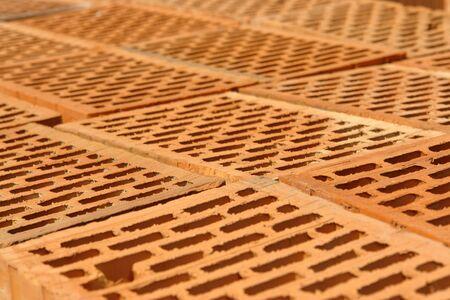 Closeup of perforated clay blocks