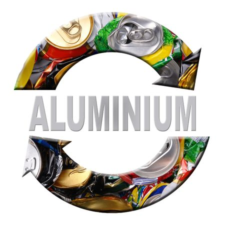 Two arrow aluminum recycling symbol with superimposed crashed beer cans over white background