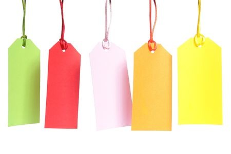 Five blank color shopping tags over white background
