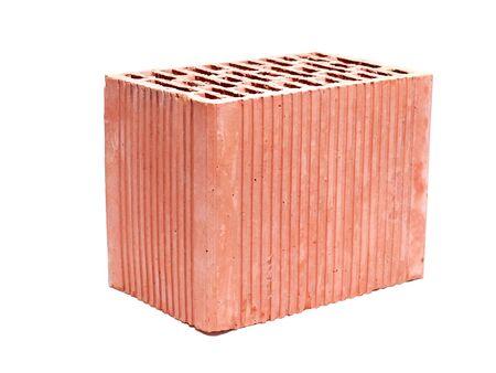 Hollow ceramic brick shot on white background