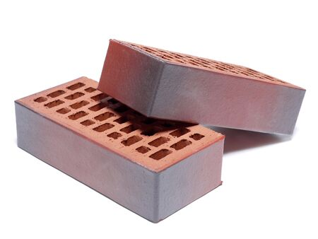 Two clinker bricks shot on white background