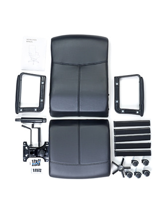 Black leather armchair parts with instruction manual ready for assembling
