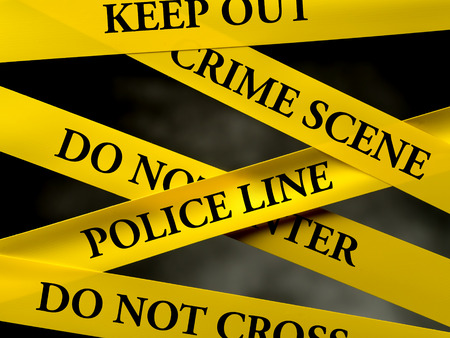 Photo for Crime area restricted by several yellow police line tapes - Royalty Free Image