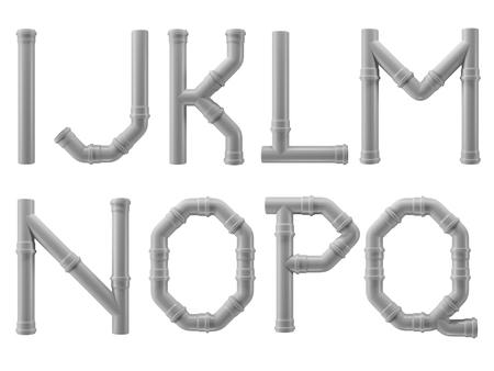 Foto de PVC alphabet made of PVC piping elements - letters I to Q - Imagen libre de derechos