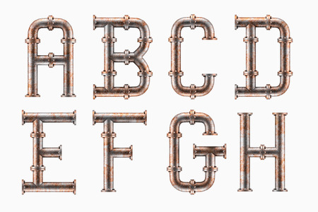 Photo pour Alphabet made of rusty metal piping elements - letters A to H - image libre de droit