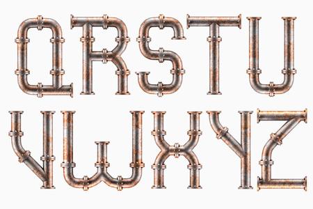 Photo pour Alphabet made of rusty metal piping elements - letters Q to Z - image libre de droit