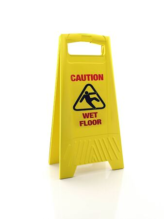 Photo for Yellow Wet Floor warning sign on white background - Royalty Free Image