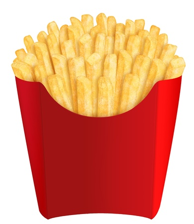 Golden french fries in red packaging, on white background