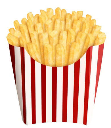 Golden french fries in stripes packaging, on white background