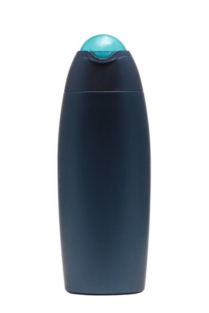 Blue tube bottle of shampoo, conditioner, hair rinse, gel, mouthwash on a white background isolated.