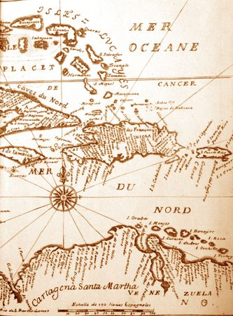 Handwritten Ancient Caribbean Map From 1678 Mural Wallpaper