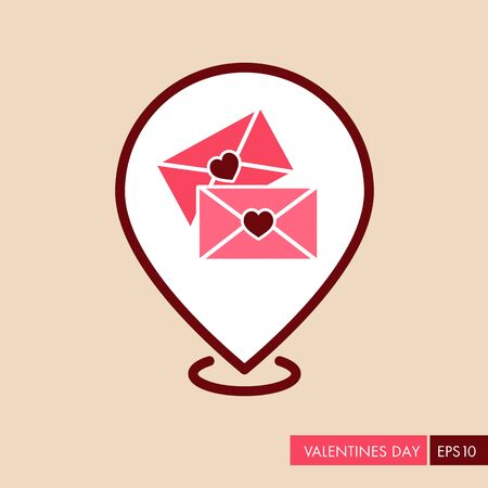 Two envelope pin map icon. Love Letter. Valentines day symbol. Map pointer. Vector illustration, romance elements. Sticker, patch, badge, card for marriage, wedding