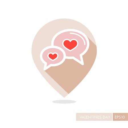 Speech bubbles with heart pin map icon.