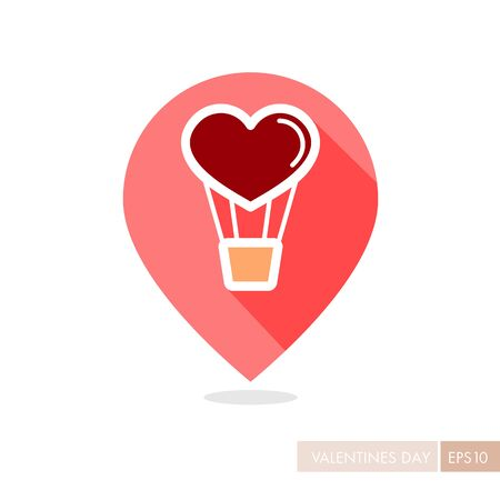 Heart air balloon thin line pin map icon. Valentines day symbol. Map pointer. Vector illustration, romance elements. Sticker, patch, badge, card for marriage, wedding
