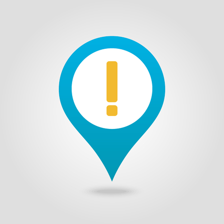 Warning attention sign. Exclamation mark pin map icon. Map pointer. Map markers. Vector illustration