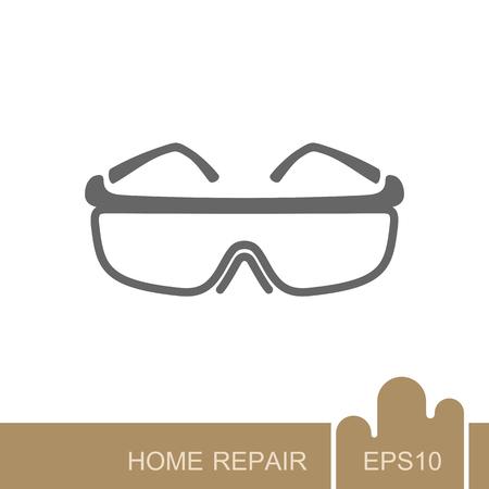 Illustration pour Safety goggles icon. Construction, repair and building vector design and illustration - image libre de droit