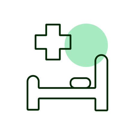 Illustration pour Hospital bed and cross vector icon. Medicine and healthcare, medical support sign. Graph symbol for medical web site and apps design, logo, app, UI - image libre de droit