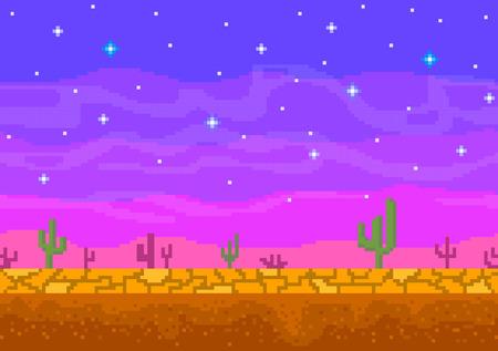 Illustration for Pixel art sunset in the desert. - Royalty Free Image