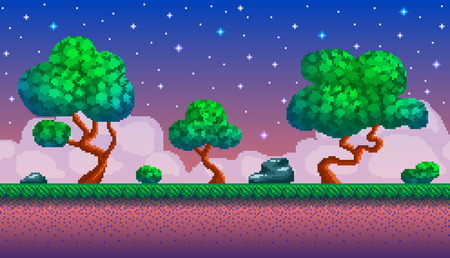 Illustration pour Pixel art seamless background. Location with forest at night. Landscape for game or application. - image libre de droit