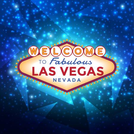 Ilustración de Las Vegas sign on blue sparkling background, vector illustration. - Imagen libre de derechos