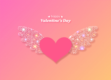 Ilustración de Valentines Day heart with glowing wings. Vector illustration. - Imagen libre de derechos
