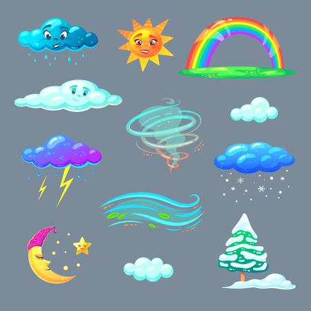 Illustration pour Cute weather icons in cartoon style. Nature elements for kids education. Vector illustration. - image libre de droit