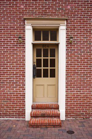 A door in a brick building