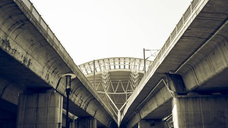 the roof of high speed train station with cinematic scene filter