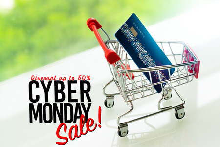Cyber Monday Sale, credit card on shopping cart trolley