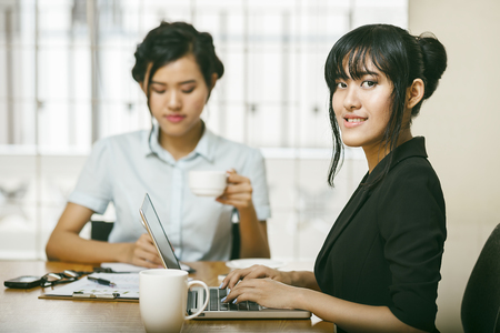 Young females working in an office