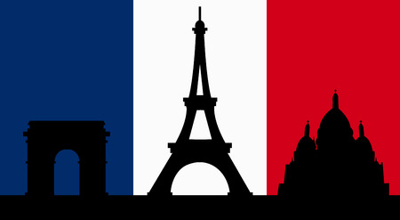 French Design with the skyline of Paris Flag